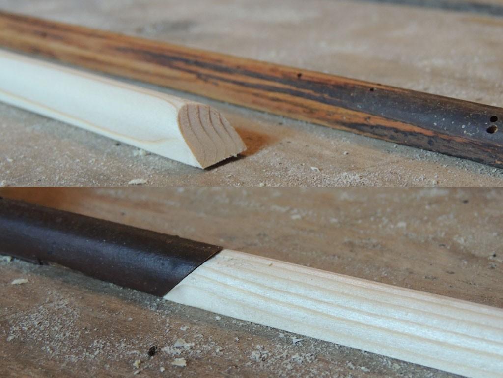 Ise valmistatud vanaga identne puidust liist