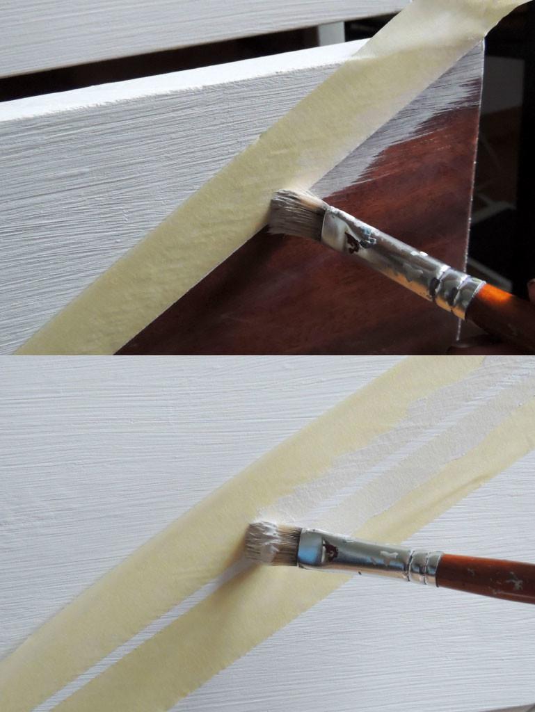 Pärast teipimist valge värviga värvimine, et serv terav jääksPärast teipimist valge värviga värvimine, et serv terav jääks