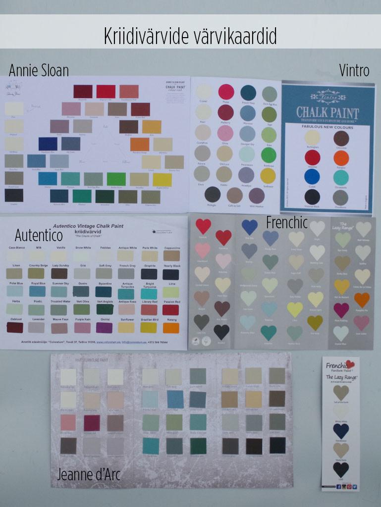 Kriidivärvide värvikaardid